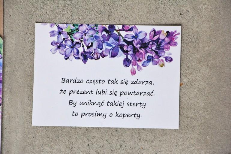 Bilecik do zaproszenia 105 x 74 mm prezenty ślubne wesele - Sorento nr 11 - Fioletowy wiosenny bez
