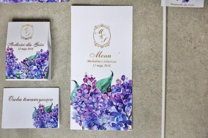 Menu weselne, stół weselny - Sorento nr 11 - Wiosenny fioletowy bez - dodatki ślubne ze złoceniem