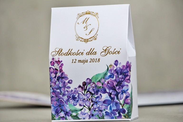 Pudełeczko stojące na cukierki, podziękowania dla Gości weselnych - Sorento nr 11 - Fioletowy bez - ze złoceniem