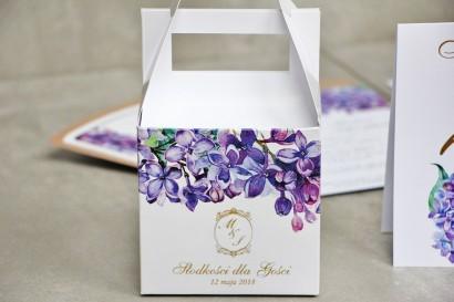 Pudełko na ciasto kwadratowe, tort weselny - Sorento nr 11 - Wiosenny bez - dodatki ślubne ze złoceniem