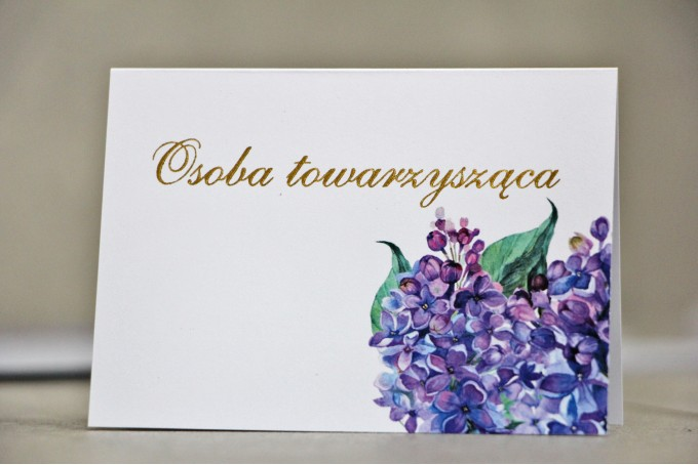Winietki na stół weselny, ślub - Sorento nr 11 - Fioletowy bez - kwiatowe dodatki ślubne ze złoceniem