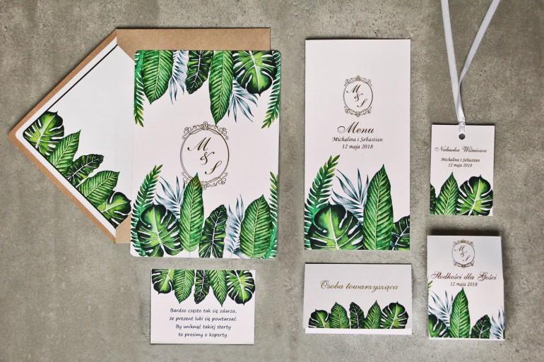 Zaproszenia ślubne, dodatki, podziękowania dla gości weselnych w stylu greenery