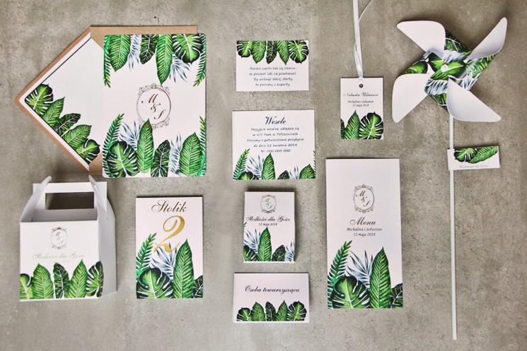 Zaproszenie ślubne z dodatkami - Sorento nr 12 - Tropikalne liście - ze złoceniem