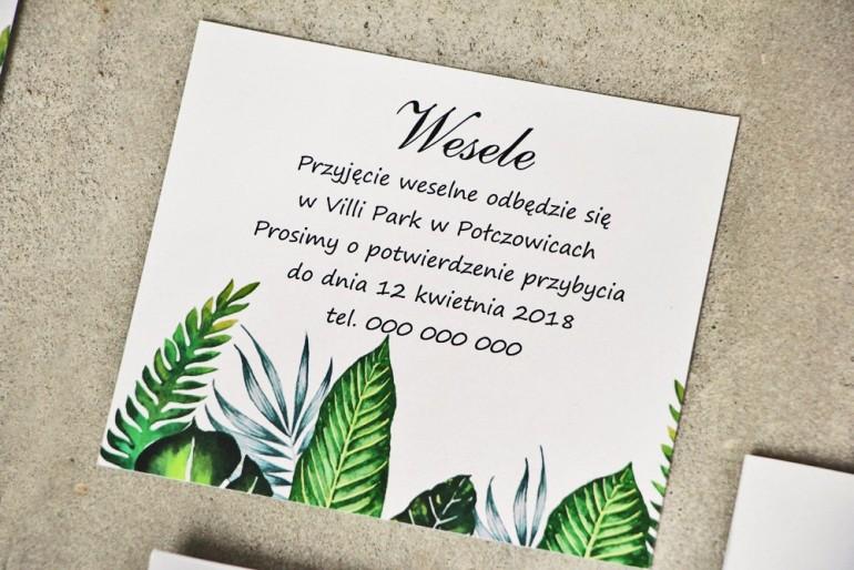 Bilecik do zaproszenia 120 x 98 mm prezenty ślubne wesele - Sorento nr 12 - Tropikalne liście