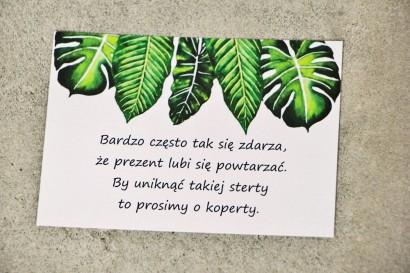 Bilecik do zaproszenia 105 x 74 mm prezenty ślubne wesele - Sorento nr 12 - Tropikalne liście
