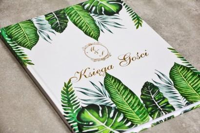 Księga Gości - Sorento nr 12 - Tropikalne liście - dodatki ślubne ze złoceniem