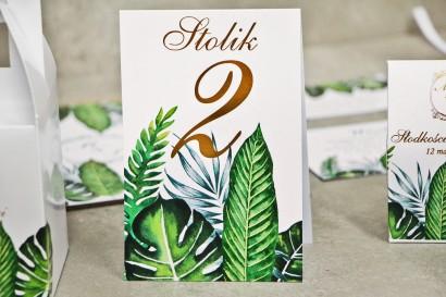 Numery stolików, stół weselny, ślub - Sorento nr 12 - tropikalne liście - dodatku ślubne ze złoceniem