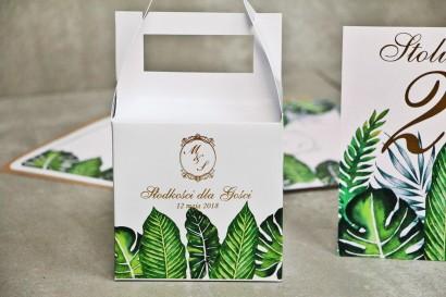 Pudełko na ciasto kwadratowe, tort weselny - Sorento nr 12 - Tropikalne liście - dodatki ślubne ze złoceniem