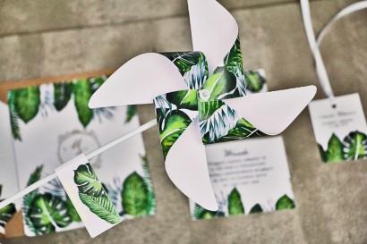 Wiatraczki - Sorento nr 12 - Tropikalne liście - dodatki ślubne ze złoceniem