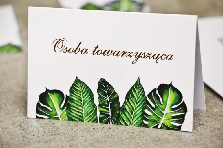 Winietki na stół weselny, ślub - Sorento nr 12 - Tropikalne liście - kwiatowe dodatki ślubne ze złoceniem
