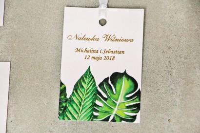 Zawieszka na butelkę, wódka weselna, ślub - Sorento nr 12 - tropikalne liście - dodatki ślubne ze złoceniem