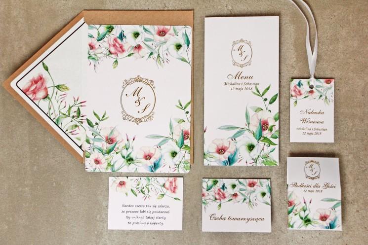 Zaproszenie ślubne z dodatkami - Sorento nr 8 - Pastelowe kwiaty - ze złoceniem