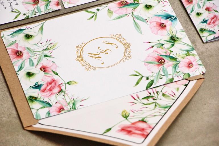 Zaproszenie ślubne, zaproszenia na ślub kwiatowe ze złoceniem - Sorento nr 8 - Pastelowe kwiaty