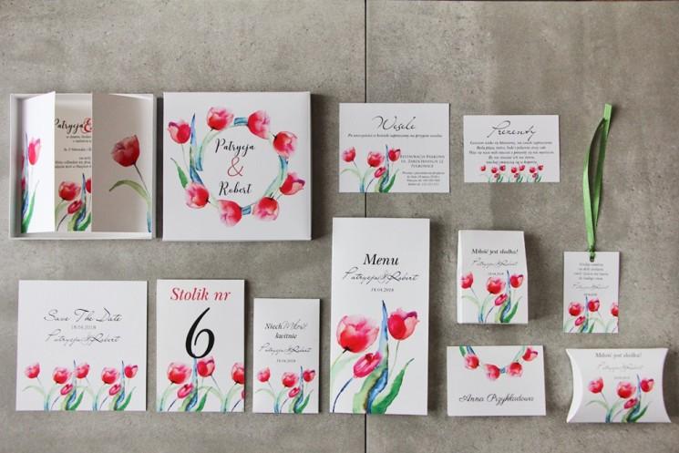 Efektowne zaproszenie ślubne w pudełku z dodatkami - Pistacjowe nr 5 - Czerwone wiosenne tulipany