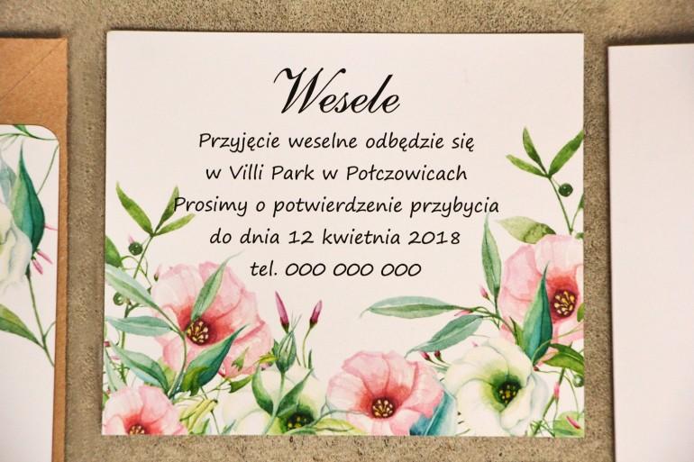 Bilecik do zaproszenia 120 x 98 mm prezenty ślubne wesele - Sorento 8 - Pastelowe kwiaty