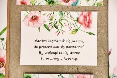 Bilecik do zaproszenia 105 x 74 mm prezenty ślubne wesele - Sorento 8 - Pastelowe kwiaty