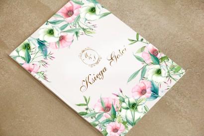 Księga Gości - Sorento nr 8 - Pastelowe kwiaty - dodatki ślubne ze złoceniem