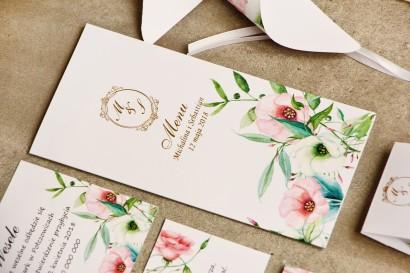 Menu weselne, stół weselny - Sorento nr 8 - Pastelowe kwiaty - dodatki ślubne ze złoceniem