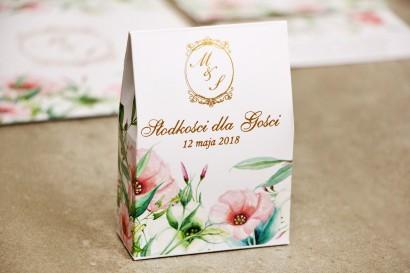 Pudełeczko stojące na cukierki, podziękowania dla Gości weselnych - Sorento nr 8 - Pastelowe kwiaty - ze złoceniem