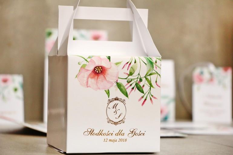 Pudełko na ciasto kwadratowe, tort weselny - Sorento nr 8 - Pastelowe kwiaty - dodatki ślubne ze złoceniem