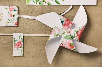 Wiatraczki - Sorento nr 8 - Pastelowe kwiaty - dodatki ślubne ze złoceniem