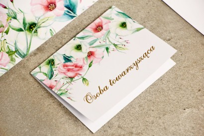 Winietki na stół weselny, ślub - Sorento nr 8 - Pastelowe kwiaty - kwiatowe dodatki ślubne ze złoceniem