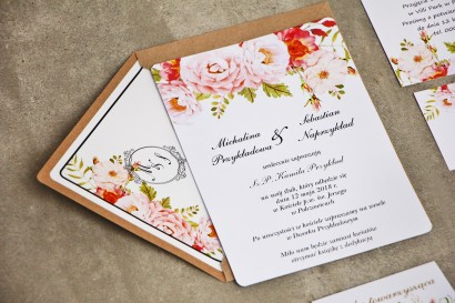 Zaproszenie ślubne, zaproszenia na ślub kwiatowe ze złoceniem - Sorento nr 13 - Pudrowe piwonie