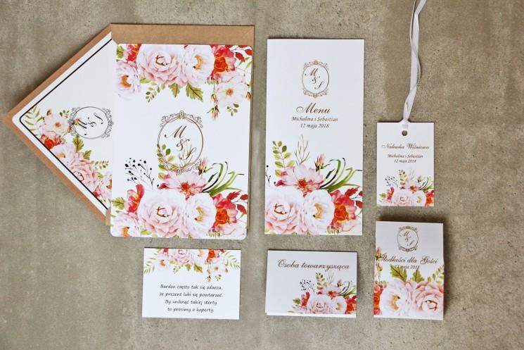 Zaproszenie ślubne z dodatkami - Sorento nr 13 - Pudrowe piwonie - ze złoceniem