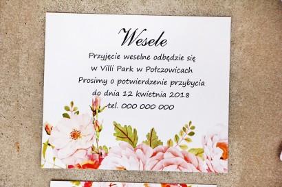 Bilecik do zaproszenia 120 x 98 mm prezenty ślubne wesele - Sorento nr 13 - Pudrowe piwonie
