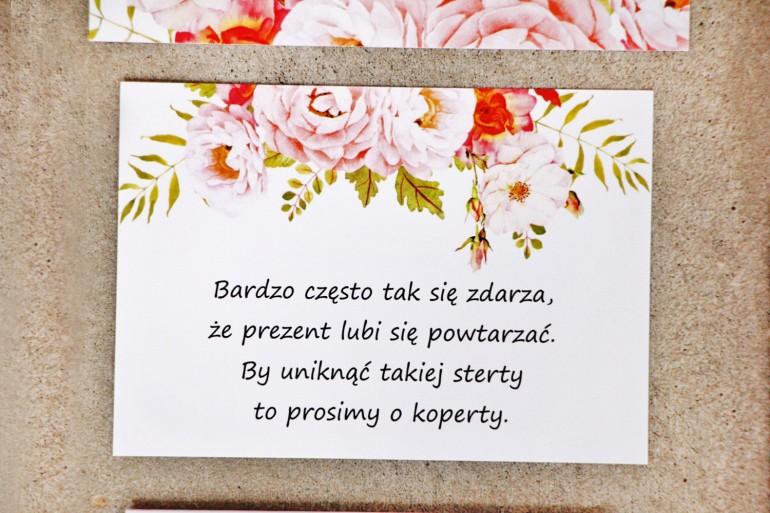 Bilecik do zaproszenia 105 x 74 mm prezenty ślubne wesele - Sorento nr 13 - Pudrowe piwonie