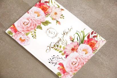 Księga Gości - Sorento nr 13 - Pudrowe kwiaty piwonii - dodatki ślubne ze złoceniem