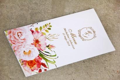Menu weselne, stół weselny - Sorento nr 13 - Pudrowe piwonie - dodatki ślubne ze złoceniem