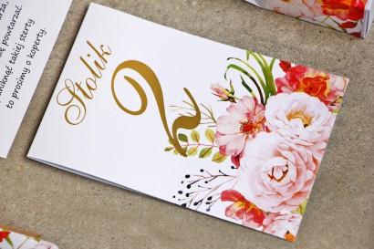 Numery stolików, stół weselny, ślub - Sorento nr 13 - Pudrowe piwonie - dodatki ślubne ze złoceniem