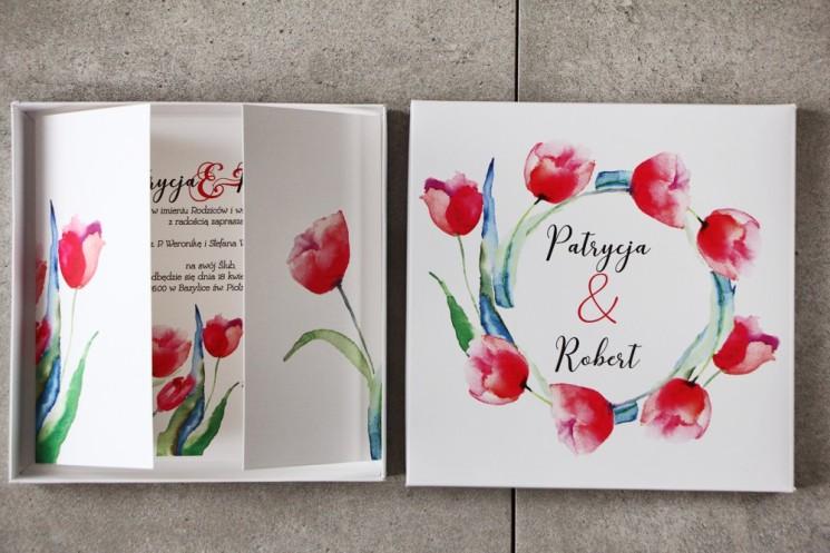 Efektowne Zaproszenie ślubne w pudełku - Pistacjowe nr 5 - czerwone tulipany