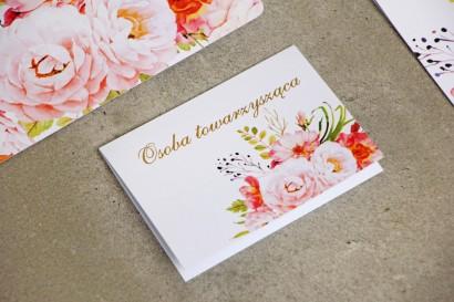 Winietki na stół weselny, ślub - Sorento nr 13 - Różowe piwonie - kwiatowe dodatki ślubne ze złoceniem