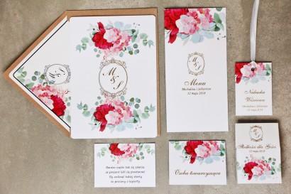 Zaproszenie ślubne z dodatkami - Sorento nr 14 - Różowo-zielone - Eleganckie ze złoceniem