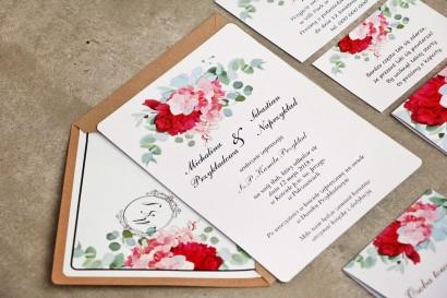 Zaproszenie ślubne eleganckie ze złoceniem - Sorento nr 14 - Różowe kwiaty z eukaliptusem i sukulentami