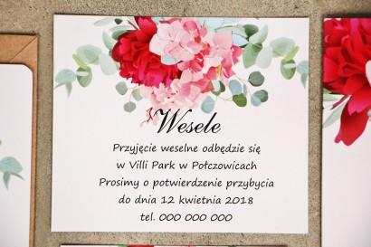 Bilecik do zaproszenia 120 x 98 mm prezenty ślubne wesele - Sorento nr 14 - Różowe kwiaty z eukaliptusem