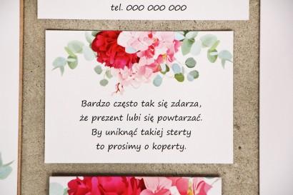 Bilecik do zaproszenia 105 x 74 mm prezenty ślubne wesele - Sorento nr 14 - Różowe kwiaty z eukaliptusem