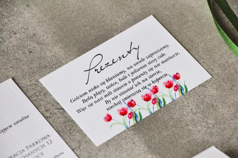 Bilecik do zaproszenia 105 x 74 mm prezenty ślubne wesele - Pistacjowe nr 5 - Czerwone tulipany