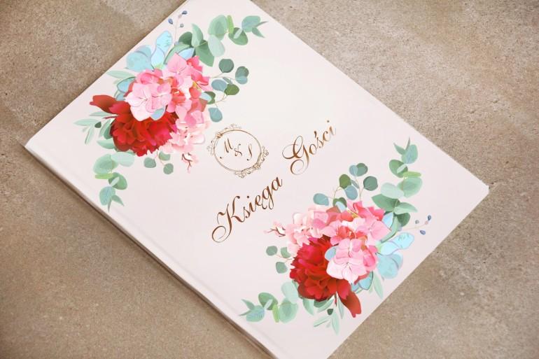 Księga Gości - Sorento nr 14 - Różowe kwiaty z eukaliptusem - dodatki ślubne ze złoceniem