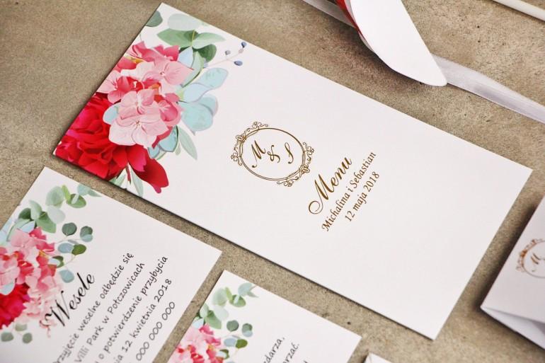 Menu weselne, stół weselny - Sorento nr 4 - Różowe kwiaty z eukaliptusem - dodatki ślubne ze złoceniem