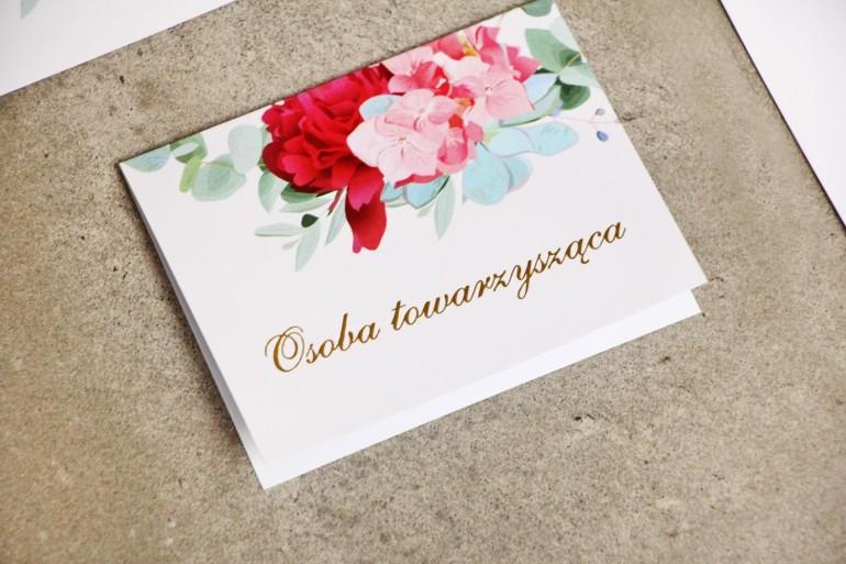 Winietki na stół weselny, ślub - Sorento nr 14 - Różowe kwiaty z eukaliptusem - dodatki ślubne ze złoceniem