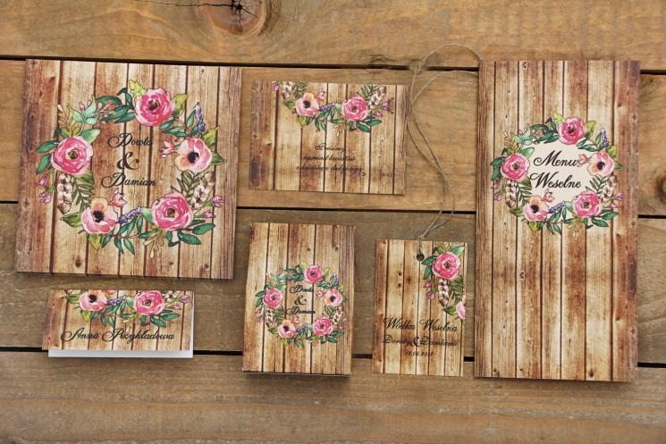 Zaproszenie ślubne z dodatkami - Rustykalne nr 1 - z motywem drewna i różowymi kwiatami