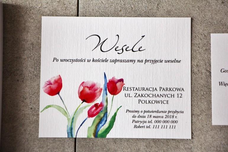 Bilecik do zaproszenia 120 x 98 mm prezenty ślubne wesele - Pistacjowe nr 5 - Czerwone tulipany