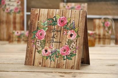 Zaproszenie ślubne, zaproszenia na ślub kwiatowe z motywem drewna - Rustykalne nr 1 - Różowe kwiaty