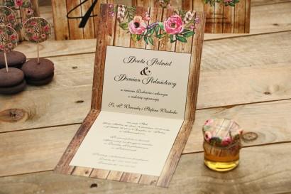 Wnętrze zaproszenia ślubnego - Rustykalne nr 1 - Z motywem drewna i różowymi kwiatami