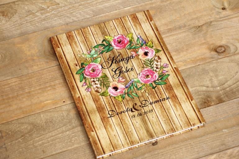 Księga Gości - Rustykalne nr 1 - różowe kwiaty na tle drewna - dodatki ślubne