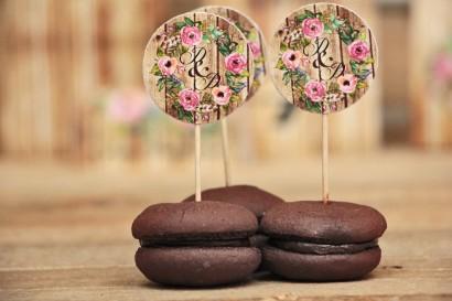 Pikery/Toppery do ciastek lub babeczek - Rustykalne nr 1 - Różowe kwiaty - dodatki na stół weselny, ślubne akcesoria
