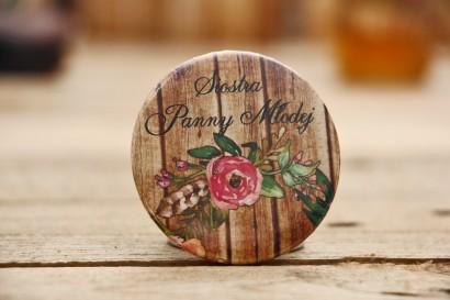 Przypinki dla Gości - Rustykalne nr 1 - różowe kwiaty - dodatki ślubne, weselne, podziękowania dla gości